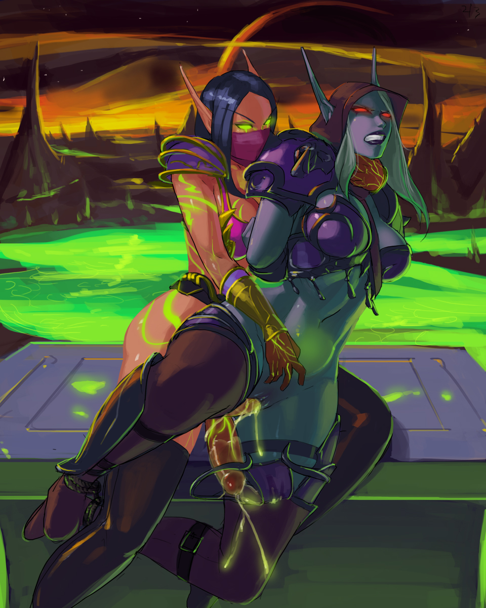 warcraft world female elf blood of Anime girl with dark skin and white hair