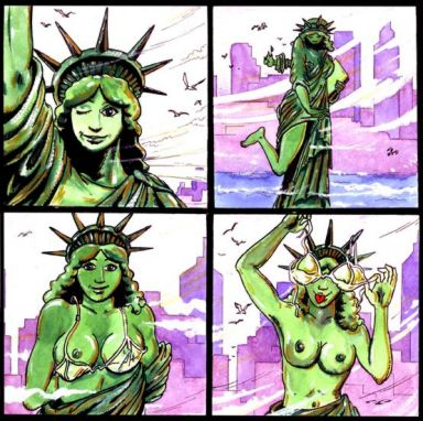 lady liberty of justice kissing statue Mr. pickles